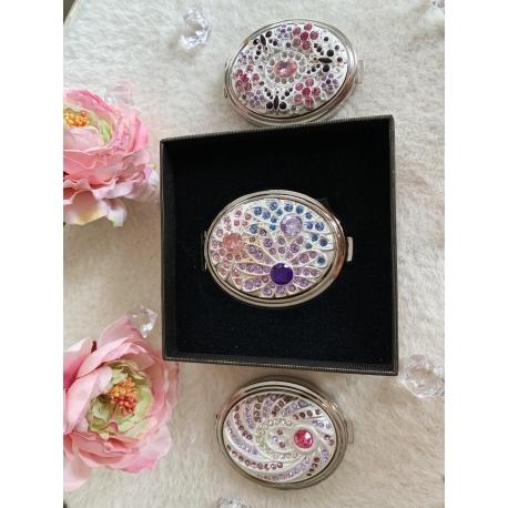 Зеркало карманное с камнями овал серебро