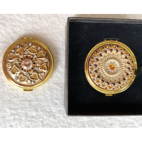 Зеркало карманное с камнями круглое золото