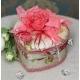 736-2 Шкатулка тканевая сердце с розой коробочка