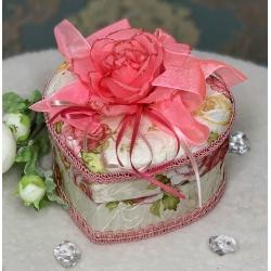 736-2 1010-7 Шкатулка тканевая сердце с розой коробочка